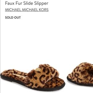 Authentic MICHAEL KORS Black/Gold Fur Slippers